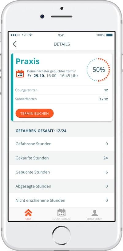 Fahrstunde direkt aus der App buchen bei der 123FAHRSCHULE