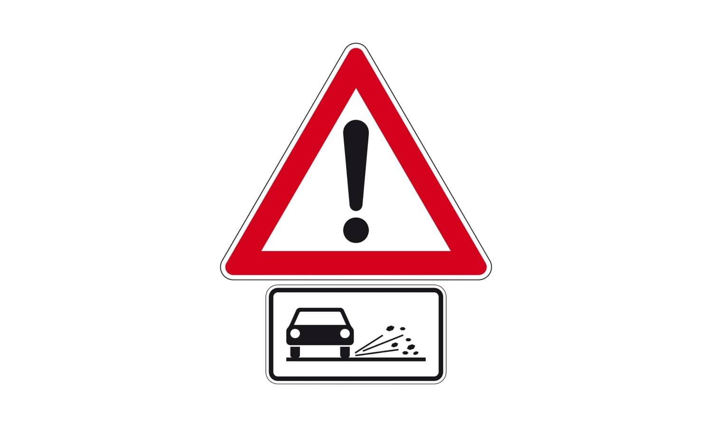 Was sollten Sie bei einer so gekennzeichneten Gefahrenstelle vermeiden?