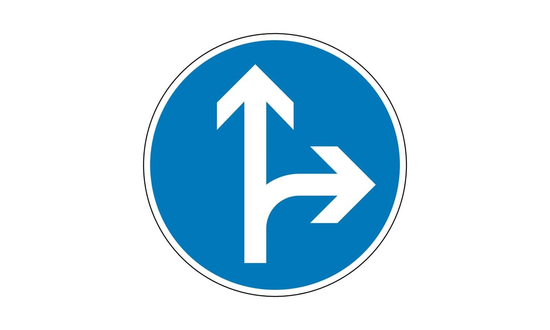 In welche Richtungen dürfen Sie weiterfahren?