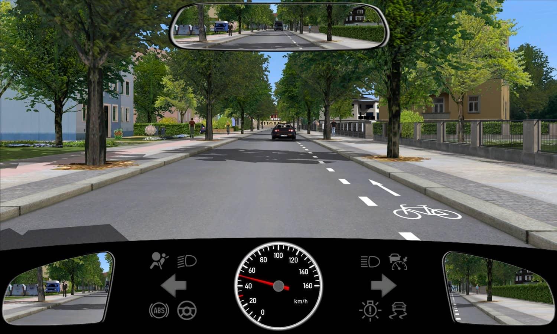 Welches Verhalten ist auf Straßen mit solchen Schutzstreifen für Radfahrer richtig?