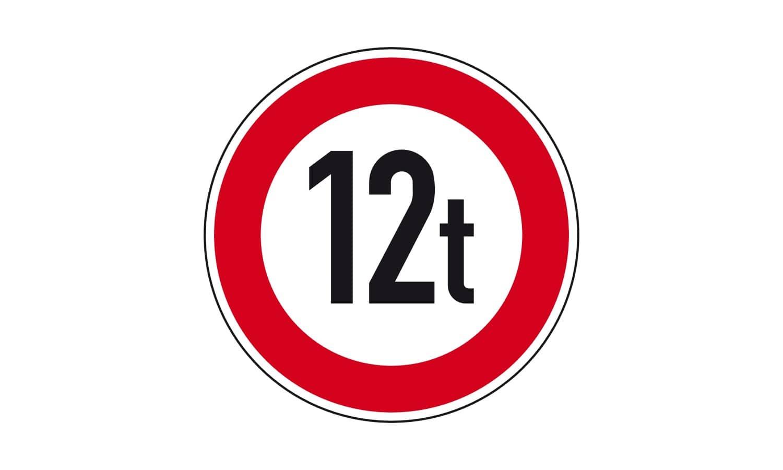 """Worauf bezieht sich bei diesem Verkehrszeichen die Angabe """"12 t""""?"""