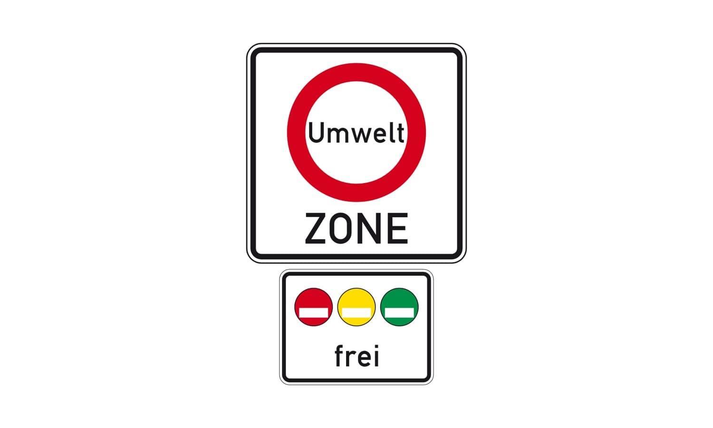 Welche Kraftfahrzeuge dürfen in die abgebildete Umweltzone?