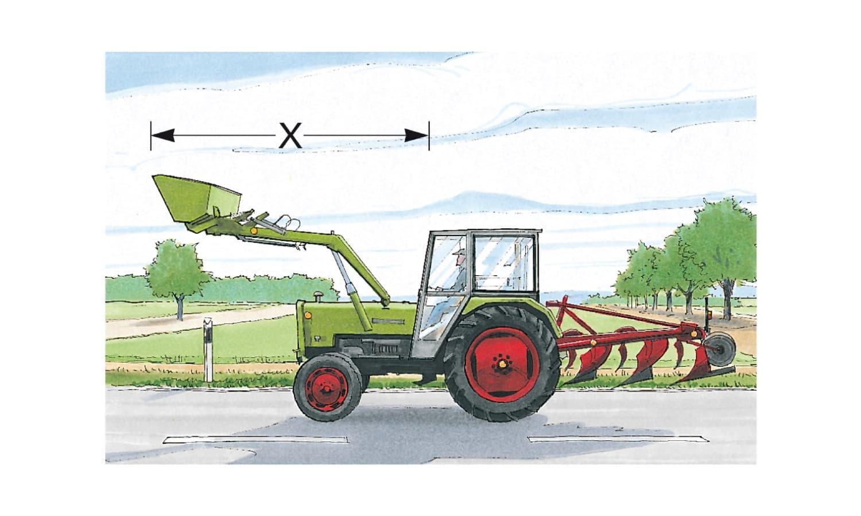 Wie groß darf das Maß X bei landwirtschaftlichen Zugmaschinen höchstens sein?